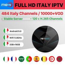 Italy IPTV Italian France IP TV Arabic Portugal Turkey HK1 MINI+ Android 9.0 2G+16G BT Dual-Band WIFI Spain Box