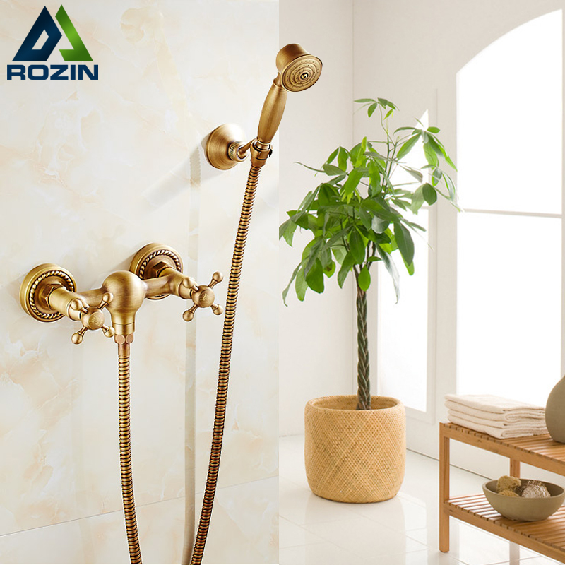 Modern Design Wall Mount Double Handles Shower Faucet Antique Brass Bathroom Handheld Shower Mixers with Handheld Shower premintehdw abs wall mount bathroom folding seat fold up seats shower rv seat