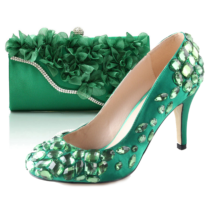 Fresh green 3D flower handbag clutch with hand sewn crystal high heel shoes matching kit for greenery wedding party fashion kit