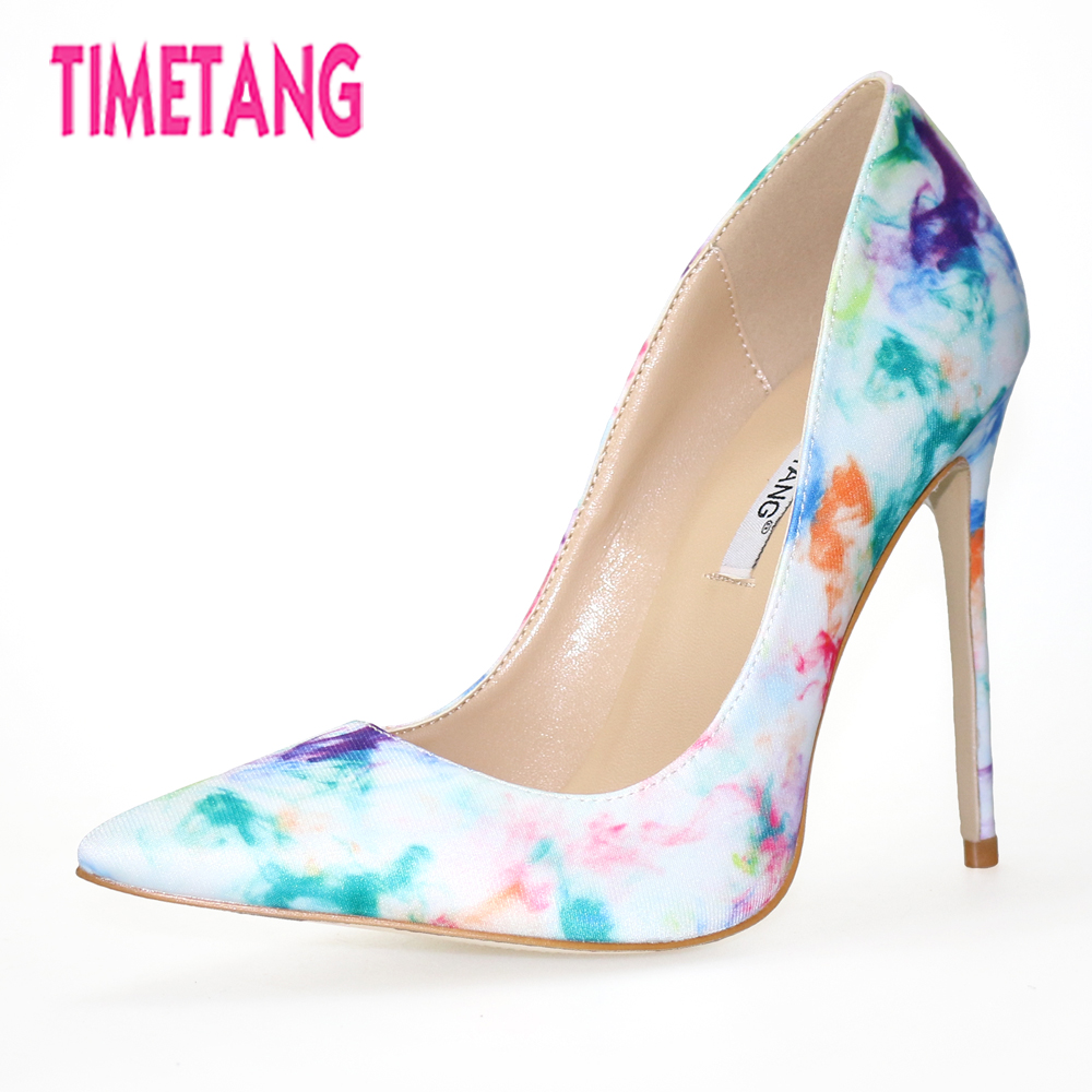 TIMETANG 2018 NEW Novelty Graffiti Pointed Toe High Thin Heel Stilleto Women Pumps Elegant Office Lady Shoes Plus Size 33-44 plus size new classic pointed toe thin high heel sexy women pumps 10 candy colors for office lady elegant slip on shallow shoes