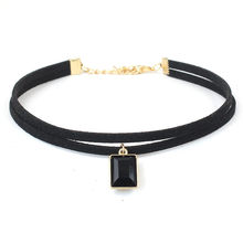 New Fashion Elastic Crystal Punk Gothic Girl Black Velvet Lace Chokers Necklace For Women Clavicle Collares Jewelry Gift
