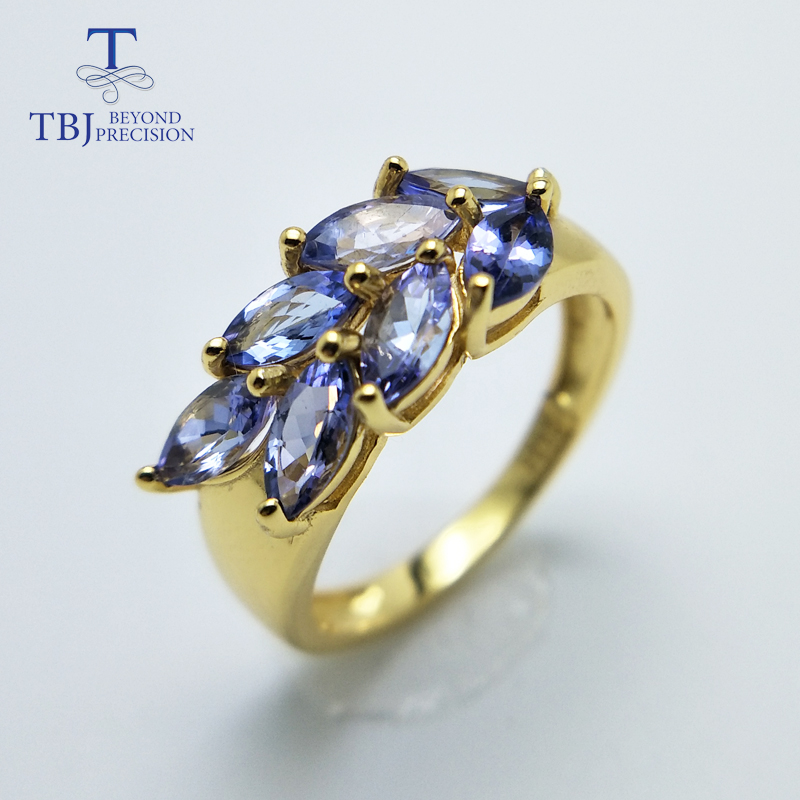 TBJ new style 925 sterling silver natural gemstone tanzanite earring and rings jewelry set for girl