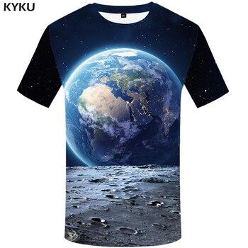 Camiseta de marca KYKU Galaxy camiseta espacio para mujer camiseta tierra impresión 3d camiseta Hip Hop Tee negro Cool Womens ropa 2018 nuevas tapas de verano
