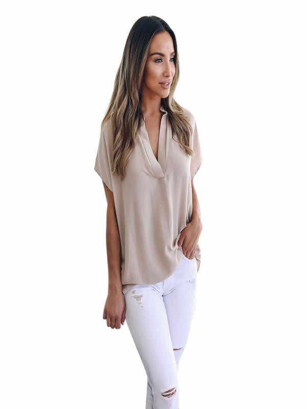 Zomer womens tops en blouses 2019 Korte Mouw Casual Kantoor Werk Chiffon Blouse Shirts Tops vrouwen Blouse Casual nieuwe
