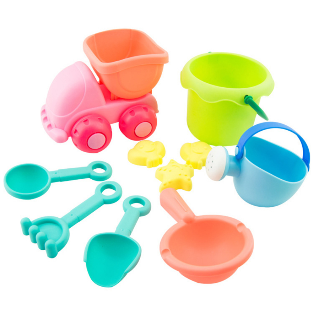 10Pcs Beach Sand Toy Set Bucket Shovels Watering Can Children Safety Soft Plastic Toys - Color Random