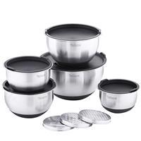 Velaze Set of 5 Stainless Steel Non Slip Salad Mixing Bowl with Grater and Lids for Baking,Making & Storage(1L,1.5L,2L,3L,5L)