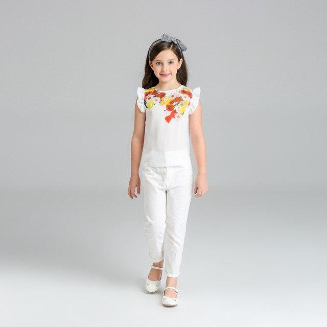 6a4bf4731 2018 الاطفال ملابس اطفال بنات الزهور قميص + السراويل فتاة الملابس 2 قطع  مجموعات الصيف تتسابق