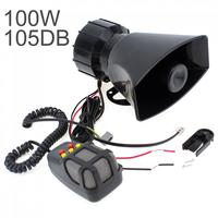 100 W Car Horn Siren 5 Sound Horn Siren PA System 12V Warning Loud Megaphone Mic