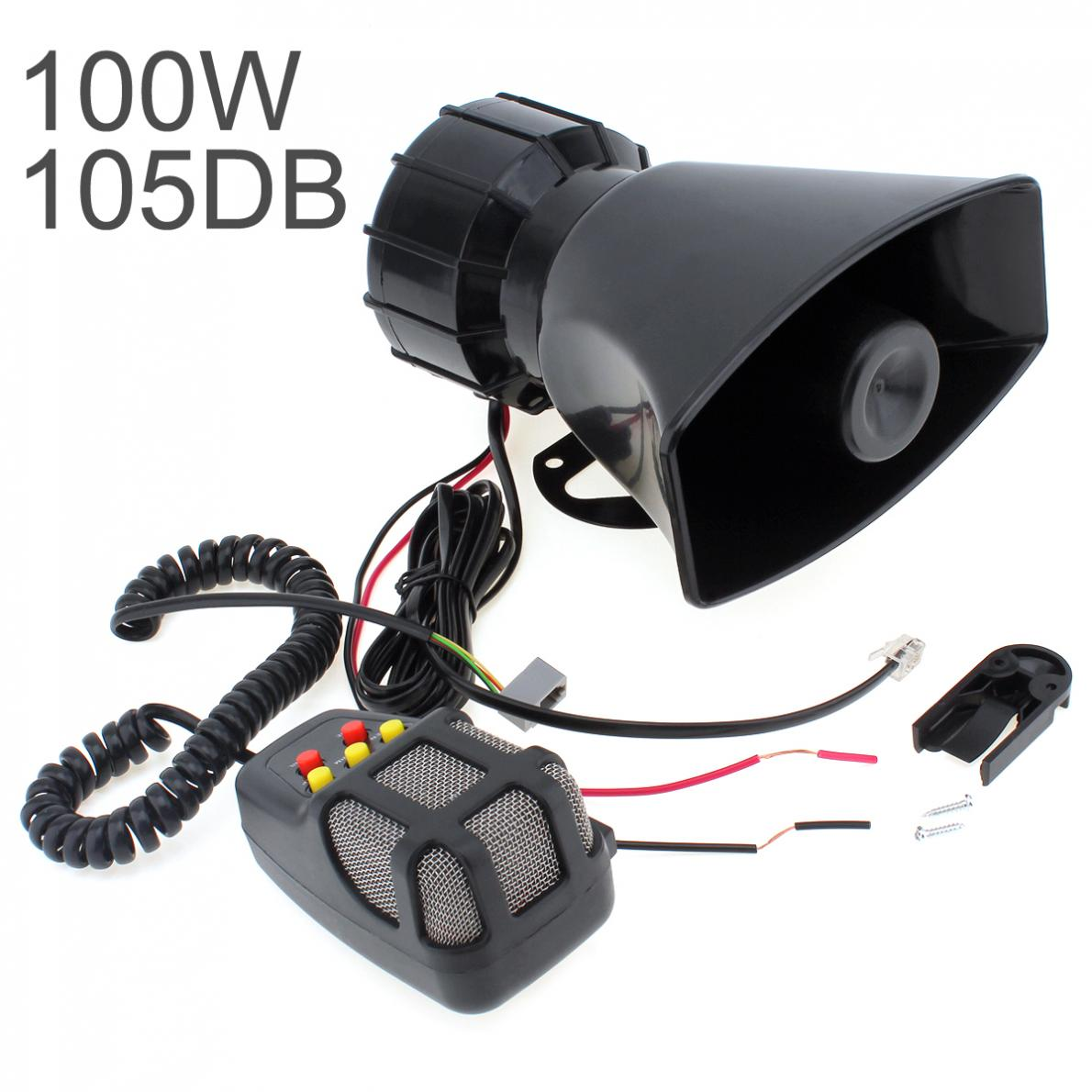 DC 12V 100W Motorcycle Car Auto Vehicle Truck 5 Sound Tone Loud Horn Siren Police Firemen Ambulance Warning Alarm Loudspeaker digitalboy car motorcycle dc 12v 100w loud air horn 125db siren sound speaker megaphone alarm for ambulance truck boat 6 tones