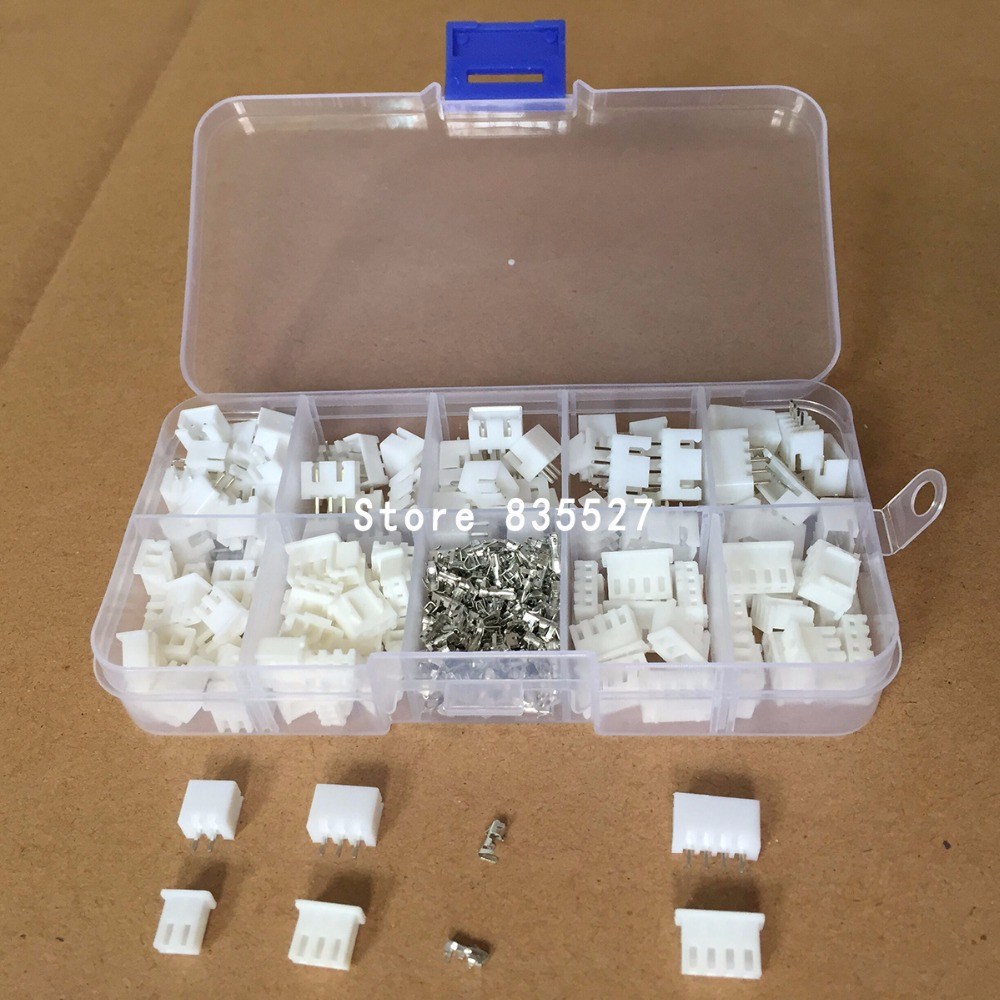 320pcs/lot 60Sets/box Kit 2.54mm XH2.54 2p 3p 4 Pin Connector Plug + Straight Needle + Terminal Socket Header Wire Adaptor Y A S