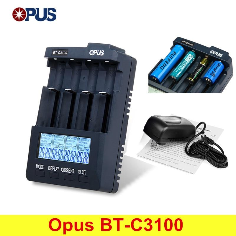 Opus BT-C3100 V2.2 inteligente Digital inteligente LCD de 4 ranuras cargador de batería Universal para batería recargable con EU/US Plug