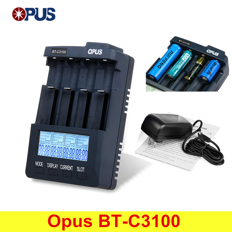 Original Opus BT-C3100 V2.2 Smart Digital Intelligent 4 LCD Slots Universal Battery Charger For Rechargeable Battery EU/US Plug keenstone intelligent balance battery charger 6a 100w customzied for yuneec typhoon q500 rc drone with led screen us eu uk plug
