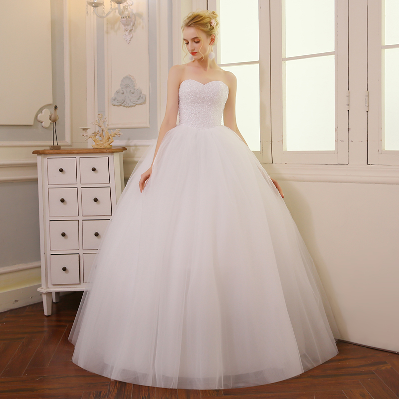 QQ Lover Full Beading Sweetheart Ball Gown Wedding Dress Bridal Wedding Gowns