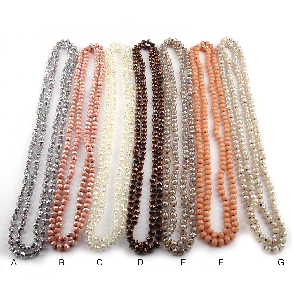 Free Shipping Fashion 5X8 Crystal Glass Long Knotted Necklac