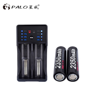 PALO NEW ARRIVAL! 2pcs 18650 battery 18650 lithium rechargeable battery with led display charger for 26650 26500 18650 17500