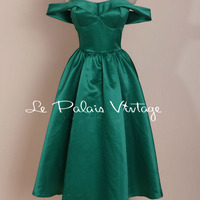 FREE SHIPPING Le Palais Vintage limited edition Retro Classic Sexy word shoulder Cut Emerald dress/ball gown