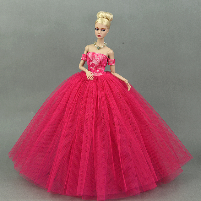 371856b219b9b US $4.74 5% OFF|Aliexpress.com : Buy Dress + Veil / Hot Red Evening Dress  Gown Bubble skirt Clothing Outfit Accessories For 1/6 BJD Xinyi FR ST  Barbie ...