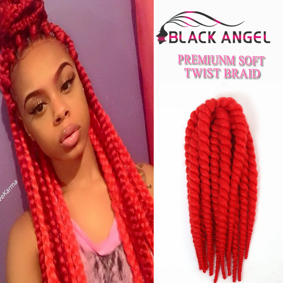 Crochet Red Hairstyles : Havana Mambo Twist Crochet Braids Kinky Marley Synthetic Hair Red ...