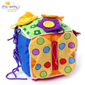 Divertido 1 unid lala bebé pacificar sonajeros cuadrados aprenden cremallera ropa linda desarrollo temprano infantil cognitiva juguete de regalo recién nacido