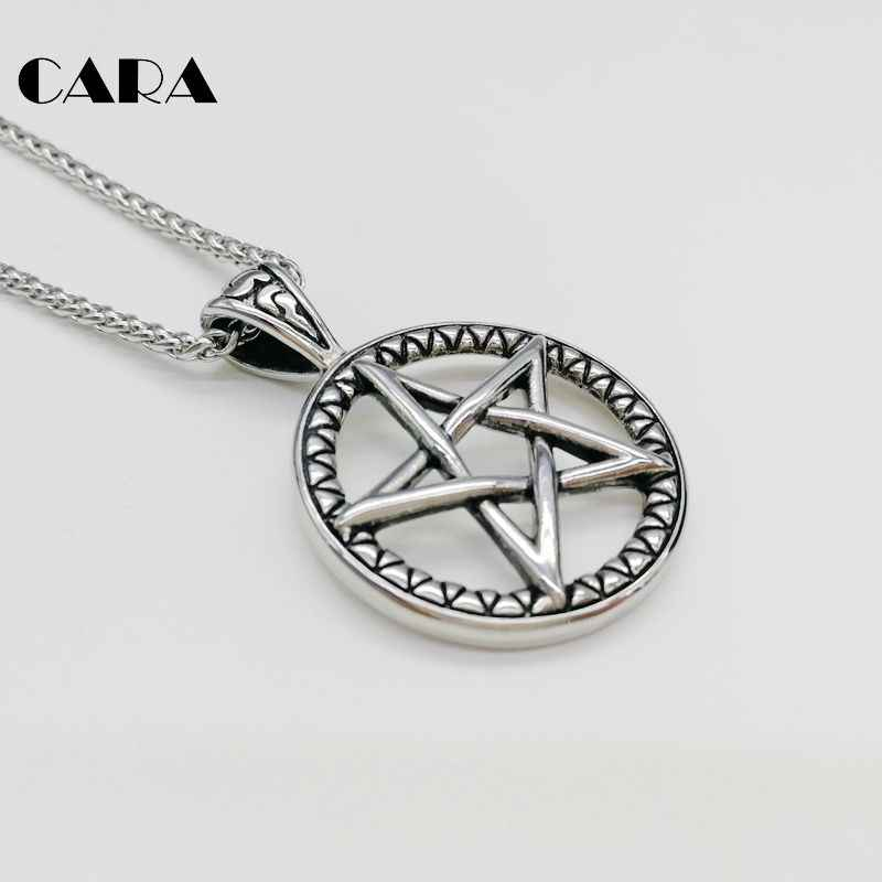 ... CARA New 316L stainless steel vintage color 5 pointed star circle pendant  necklace fashion men stylish ... eb56e32f4cfe