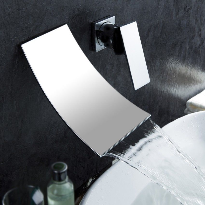 Free ship Waterfall Wall-mounted Bathroom Vessel Sink Square Faucet Chrome Single Handle niko 50pcs chrome single coil pickup screws