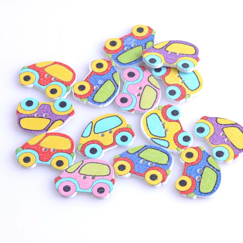 Cheap Sale Car Shaped Wooden Buttons Accessories Handmade Art Home Decoration Crafts Sewing Decorative Scrapbooking 50pcs 19x25mm Mt0635 Novel Design; In