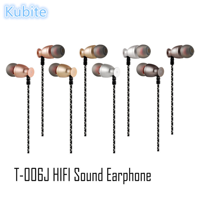 Kubite Fashion T-006J Wired HIFI Sound In-ear Sports Headphone Earphone with Mic for Xiaomi Phones Tablet PC  #231593