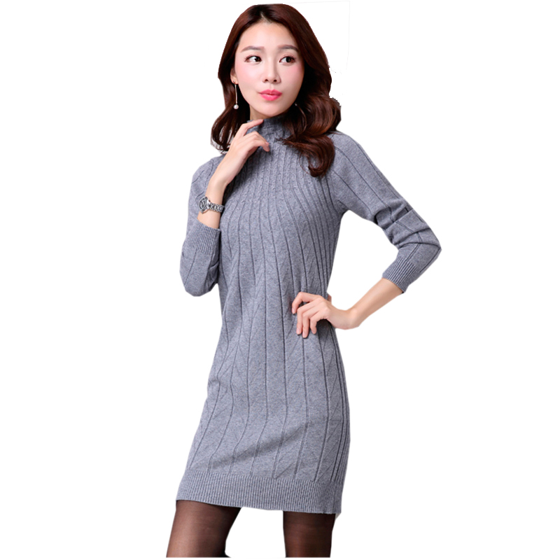 Plus Size Knitted Sweater Dress Winter Autumn Women Maxi Dress Knitting  Turtleneck Warm Dress Long Ladies ... dadefc6a7e48
