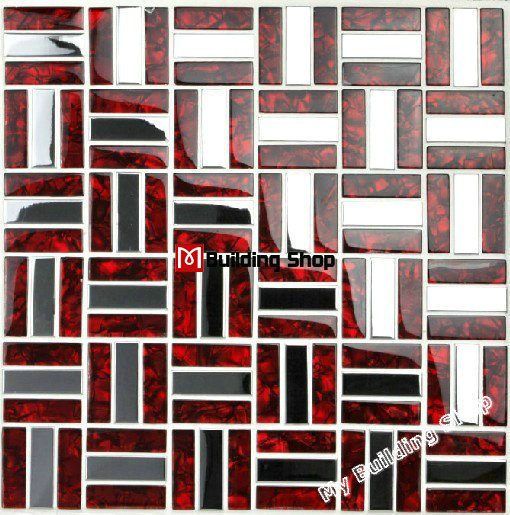 Superbe Red Glass Mosaic Stainless Steel Tile Backsplash SSMTS021 Silver Metal  Mosaic Glass Tile Bathroom Wall Tiles