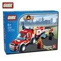 Qwz 122 pcs cidade bombeiros veículo de resgate fogo modelo building block bricks auto-travamento diy montado educacional das crianças brinquedo