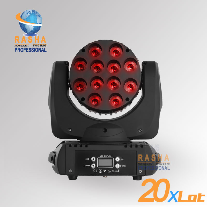 20X LOT Rasha High Quality 12pcs*10W 4IN1 Cree RGBW LED Beam Moving Head With LCD Display,Stage Disco Party Moving Head Beam