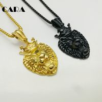 CARA New Crown Lion Pendant Necklace Plated 316L Stainless Steel Animal Roaring Lion Charm Necklace Men