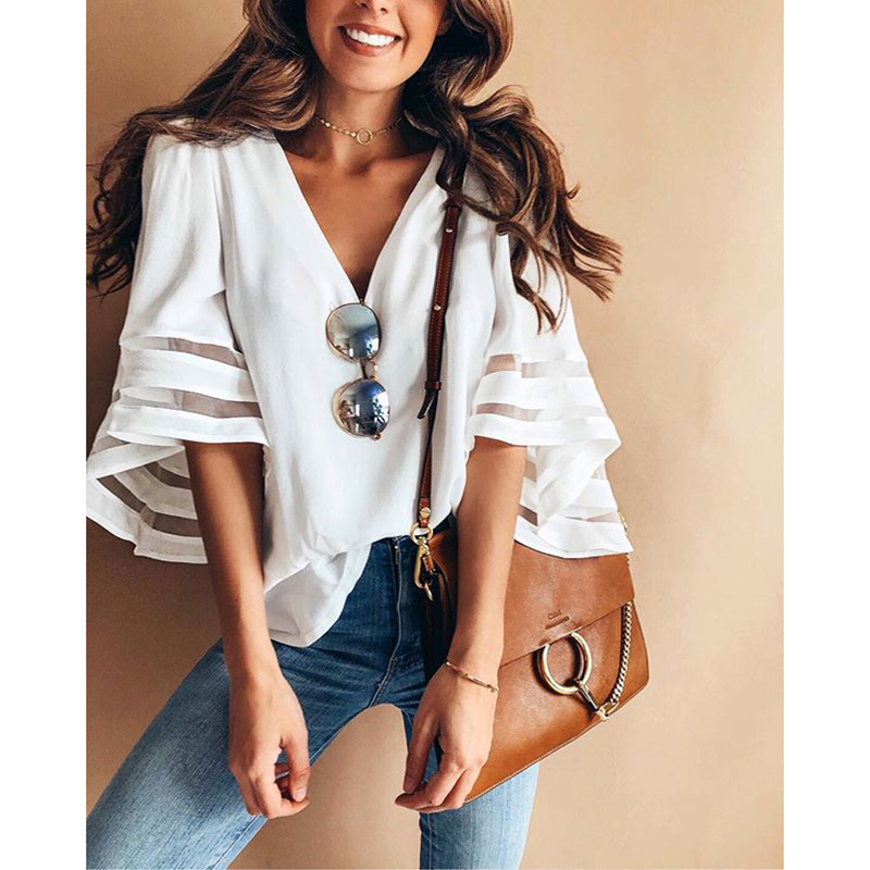 Bell sleeve white chiffon blouse shirt Women sexy v neck solid blouses Elegant office ladies shirt 2018 Summer casual blusas
