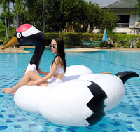 190cm Giant White Swan Pool Float Inflatable Crowned Crane Mattress Swimming Circle Party Water Floating Island Buoy Beach Bed