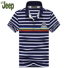 AFS JEEP brand polo shirt men 2017 new listing fine striped short sleeves polo shirt cotton casual lapel polo shirt 55
