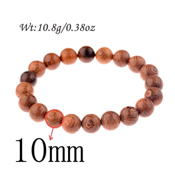 Elastic Natural Wood Beads Bracelet Bracelets Jewelry New Arrivals Women Jewelry Metal Color: ABJ044-4