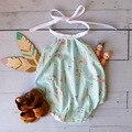 Floral Alças de Batismo Do Bebê Menina Verão Conjunto Romper Do Bebê Arco Bebê Recém-nascido Roupas Roupas Fotografia Infantil