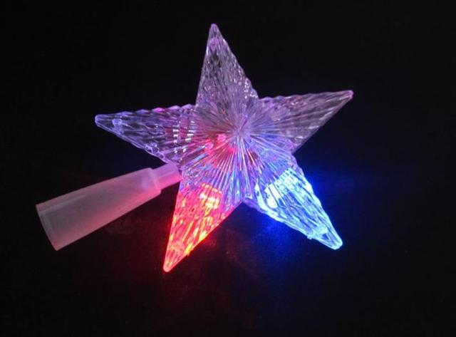pentagram star led xmas tree topper fairy light multi color flash button battery powered christmas tree