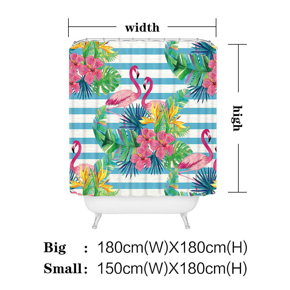 Miracille Tropical Flowers Waterproof Shower Curtains Flamingo ...