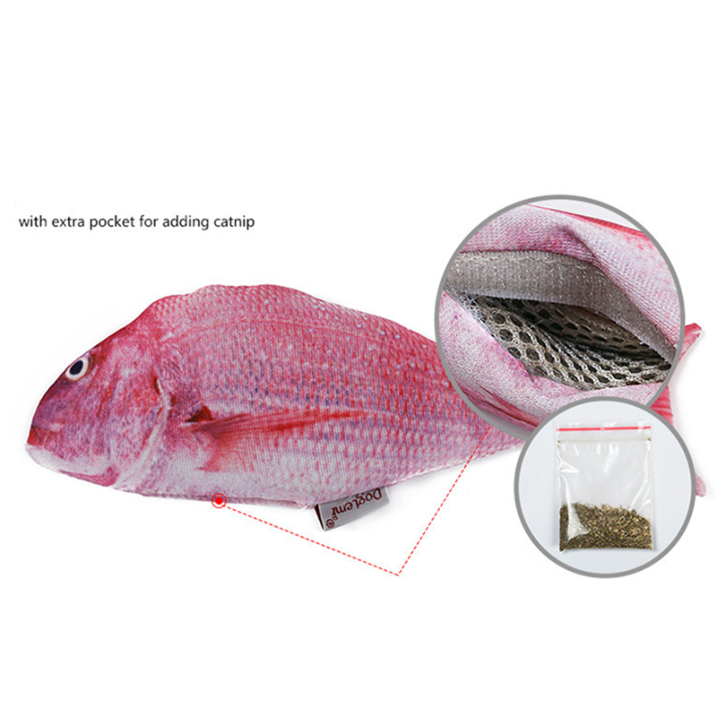 MERLE PET Cat Toys Interactive NEW 3D Simulation Fish Plush Refilling Catnip Bags Chewing Cats Products For Pets Bolster M07024 4