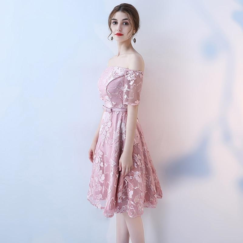 c145038a0de1 SOCCI Weekend Short Pink Elegant Cocktail Dress 2017 Womens Lace Formal  Wedding Party Dresses pattern Off shoulder Robe de-in Cocktail Dresses from  Weddings ...