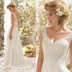 Neue Romantische Sommer Braut Kleid Flüssigkeit gefühl Chiffon-Sleeveless Spitze Tiefem V-ausschnitt Einstellbar Plus Größe Hochzeit Kleid