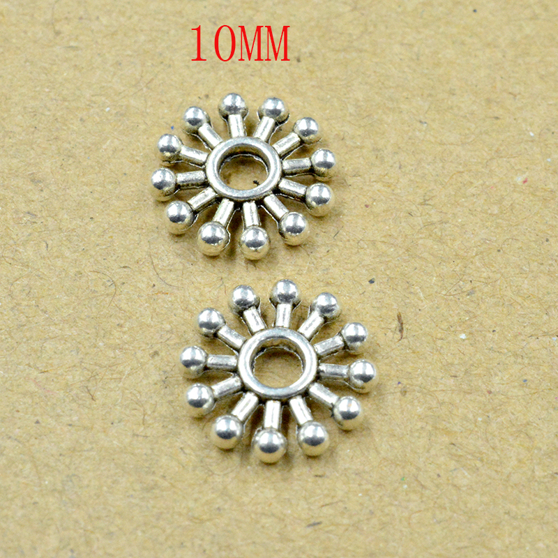 FLTMRH 20PCS 10mm   Tibetan Metal Beads Antique Gold Silver Oval UFO Shape Loose Spacer Beads for Jewelry Making snowflake