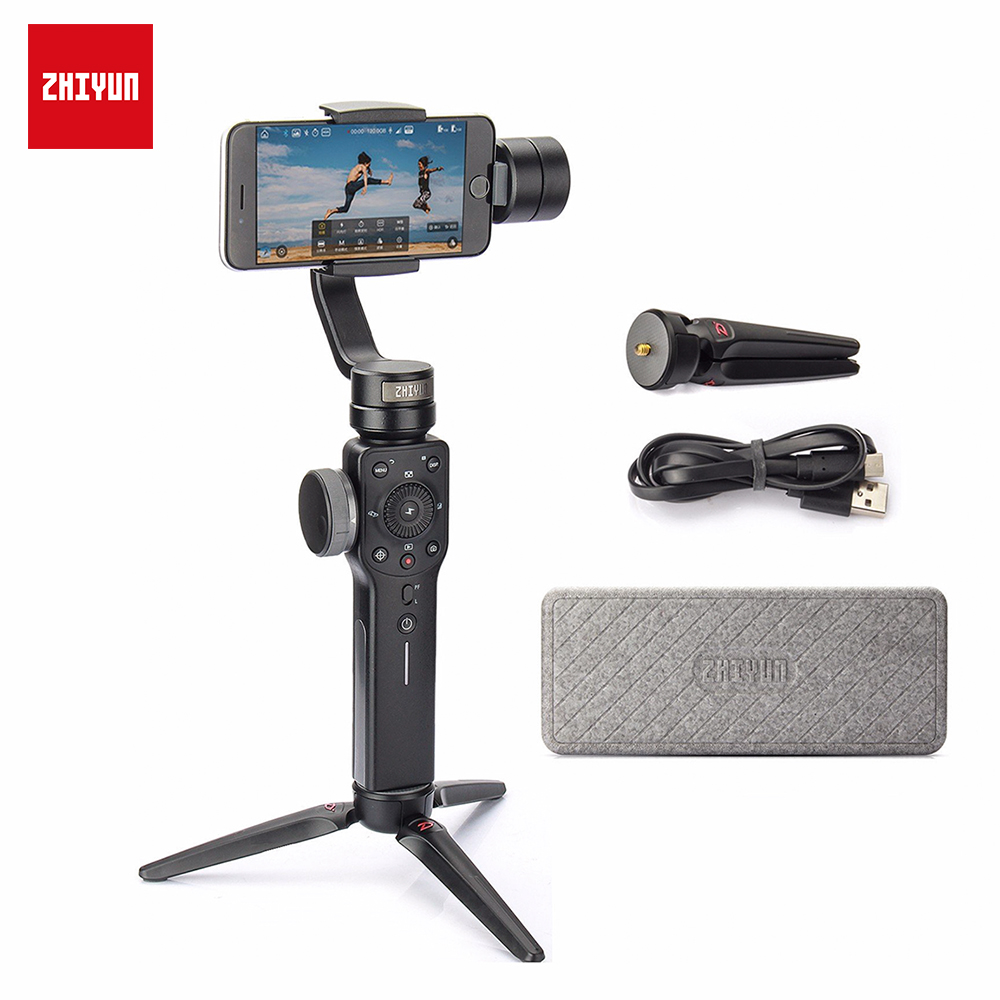 ZHIYUN Smooth 4 3-Axis Handheld Smartphone Gimbal Stabilizer for iPhone XS Max XR X 8Plus 8 Samsung S9 S8 S7 and Action Camera