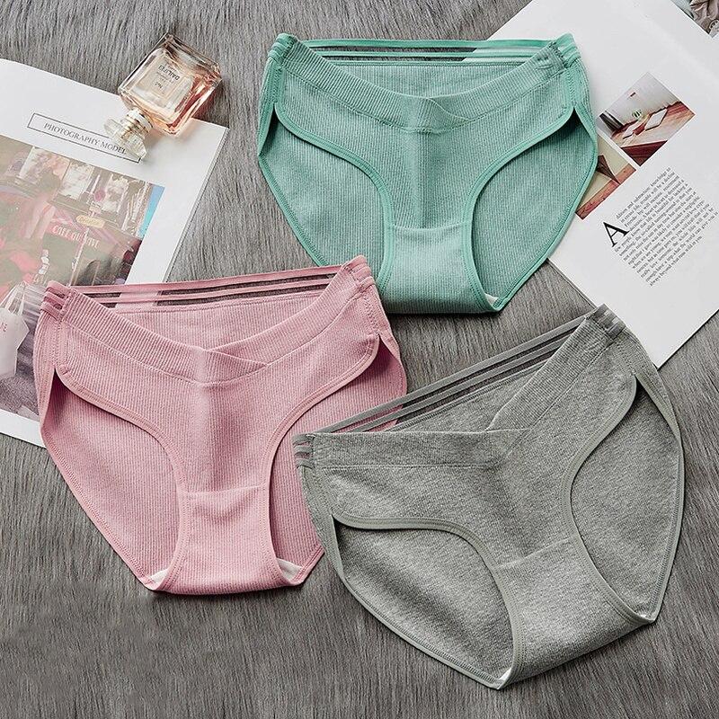 Calças de maternidade calças de cintura baixa calcinha sem costura suave cuidados abdômen roupa interior de maternidade calças de algodão qualidade