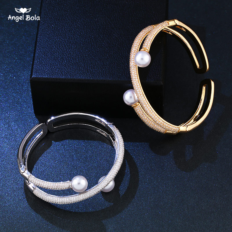 AAA CZ Wedding Jewelry Gold/Silver Plated Open Cuff Bracelets Simple Double Simulated Pearl Bead Adjustable Bangles