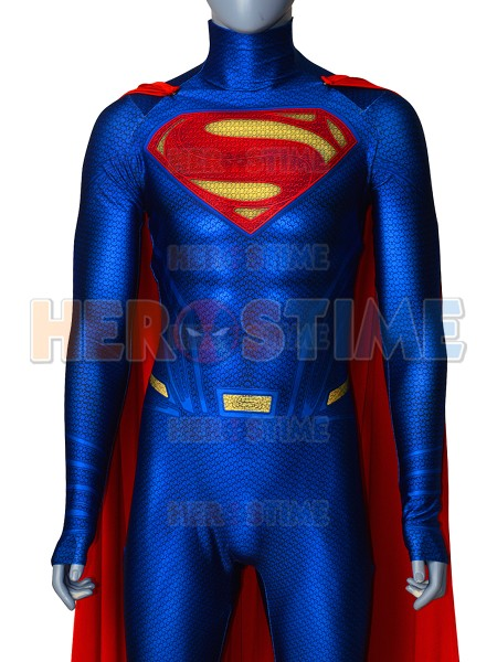 High Quality Superman Costume 3D Printing Spandex Lycra Man Of Steel Superman Cosplay Costume With Cape Halloween Superman Bodys