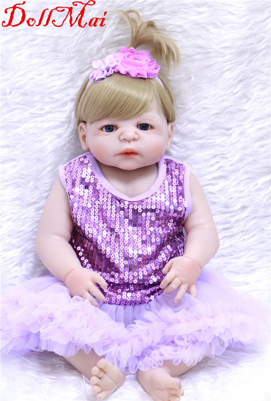 DollMai Doll reborn 2255cm full body silicone reborn babies dolls blond hair wig blue/brown eyes bebe gift reborn bonecas