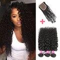 Малайзийские Виргинские Волосы с Закрытием 7А Afro Kinky Вьющиеся Девы Волос с Закрытием 3 Связки Малайзии Вьющихся Волос с Закрытием