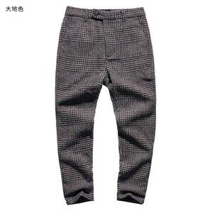 Image 4 - Pantalon pour hommes, nouveau pantalon à carreaux, gris, en laine, slim, long, extensible, style italien, design de marque à la mode, décontracté